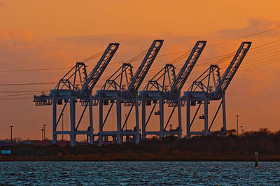 Photograph - Super Post-panamax Sts Cranes by Linda Unger