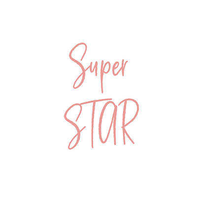 Digital Art - Super Star Pink On White- Art By Linda Woods by Linda Woods