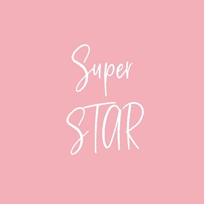 Digital Art - Super Star White On Pink- Art By Linda Woods by Linda Woods