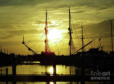 Blue Pirate Ships Landscape Photograph - Super Sunrise With El Galeon by D Hackett