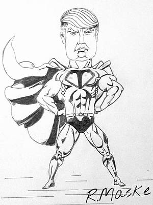 Whitehouse Drawing - Super Trump by Randy Maske