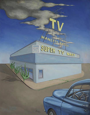 Painting - Super Tv Mart by Sally Banfill