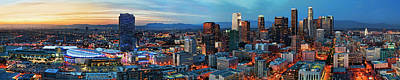 Super Wide View Of Los Angeles At Dusk Art Print by Kelley King