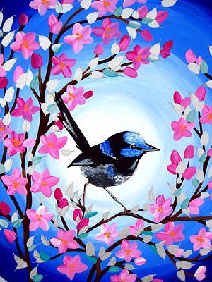 Wren Painting - Superb Fairy Wren by Cathy Jacobs