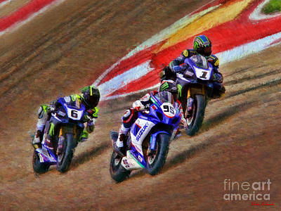 Photograph - Superbike Roger Hayden Josh Hayes And Cameron Beaubier by Blake Richards
