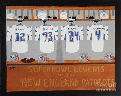Nfl Legends Painting - Superbowl Legends Of The New England Patriots by Dennis ONeil