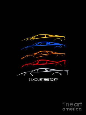 Jaguar Xj220 Digital Art - Supercar Of 90s Silhouettehistory by Gabor Vida