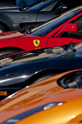 Vehicle Photograph - Supercars Ferrari Emblem by Jill Reger