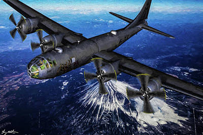 Superfortress Digital Art - Superfortress Over Japan - Oil by Tommy Anderson
