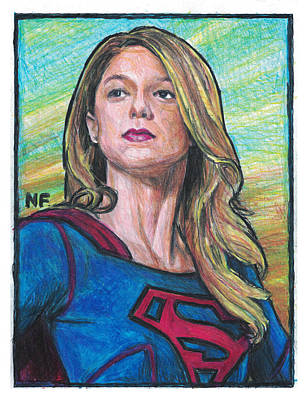 Supergirl Drawing - Supergirl As Portrayed By Actress Melissa Benoit by Neil Feigeles
