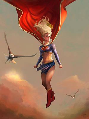 Digital Art - Supergirl Commission by Steve Goad