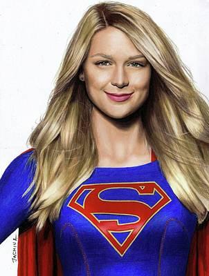 Drawing - Supergirl Drawing by Jasmina Susak