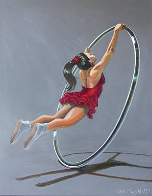 Supergirl On Cyr Wheel  Original by MAD Art and Circus
