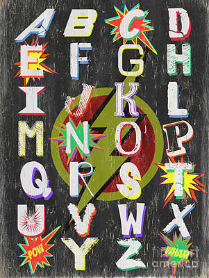 Lightning Bolts Painting - Superhero Alphabet by Debbie DeWitt