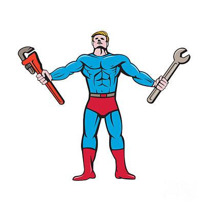 Muscular Digital Art - Superhero Handyman Spanner Wrench Cartoon by Aloysius Patrimonio