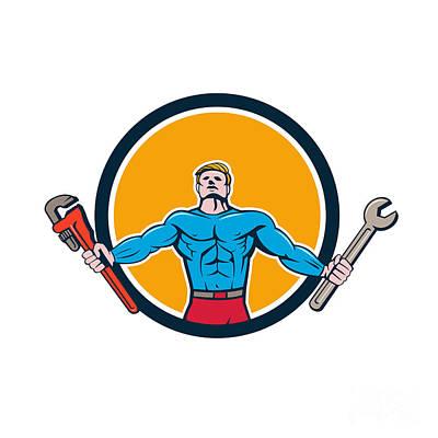 Muscular Digital Art - Superhero Handyman Spanner Wrench Circle Cartoon by Aloysius Patrimonio