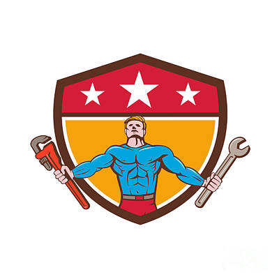Muscular Digital Art - Superhero Handyman Spanner Wrench Shield Cartoon by Aloysius Patrimonio