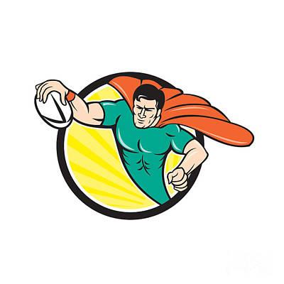 Scoring Digital Art - Superhero Rugby Player Scoring Try Circle by Aloysius Patrimonio