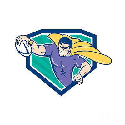 Scoring Digital Art - Superhero Rugby Player Scoring Try Crest by Aloysius Patrimonio
