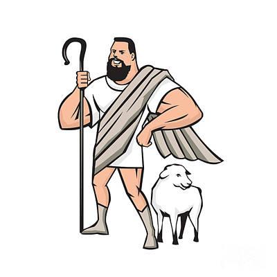 Crooked Digital Art - Superhero Shepherd Sheep Standing Cartoon by Aloysius Patrimonio