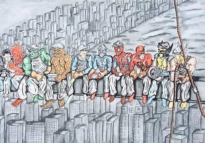 Superheroes On Lunch Original by Ricardo Freitas