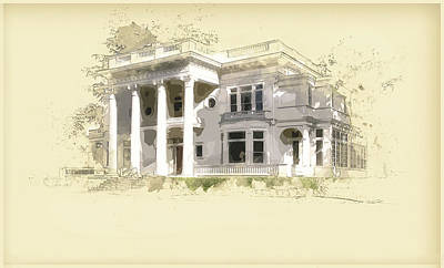 Mansion Digital Art - Superintendent's Home Drawing 2 by Terry Davis