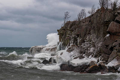 Photograph - Superior Rocky Shore Line by Paul Freidlund