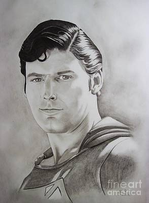 Dc Comics Drawing - Superman Circa 2007 by Lise PICHE