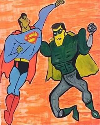 Superman Defeating Superevil Original