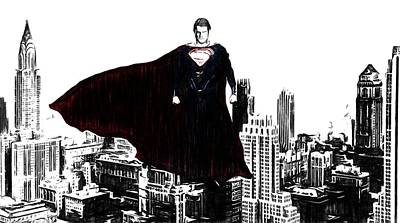 Superman In Manhattan Comic Charcoal Art Print by Dan Sproul