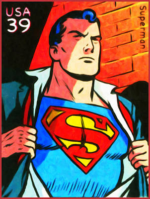 United States Postage Painting - Superman by Lanjee Chee