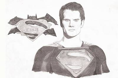 Justice League Drawing - Superman - Man Of Steel by JJ Tyler