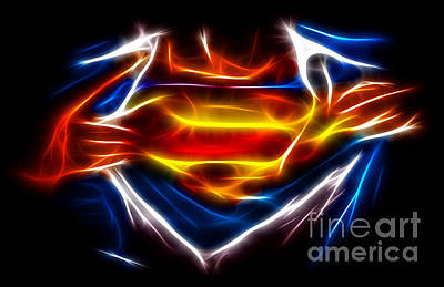Fractal Mixed Media - Superman by Pamela Johnson