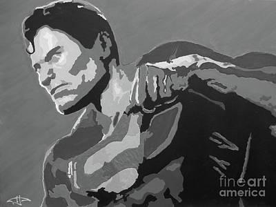 Superman - Red Sky Bw Art Print
