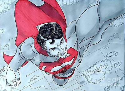 Supergirl Drawing - Superman Takes Flight by Scott Davis