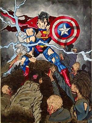 Superman Vs. Zombies Original by Brittany Rheaume