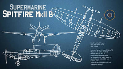 Airplane Digital Art - Supermarine Spitfire Mk II Blueprint by Jose Elias - Sofia Pereira