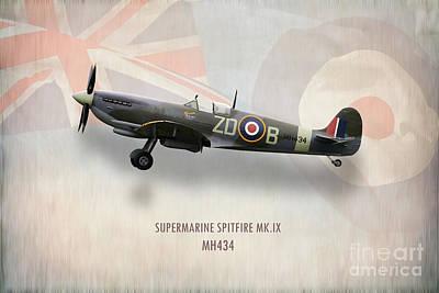 Mkix Digital Art - Supermarine Spitfire Mk.ix Mh434 by J Biggadike