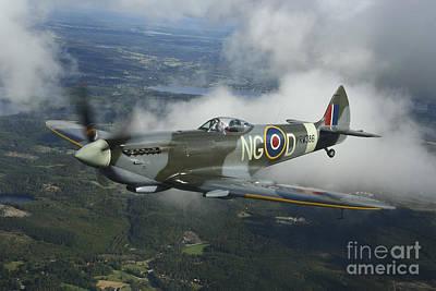 Supermarine Spitfire Mk.xvi Fighter Art Print by Daniel Karlsson