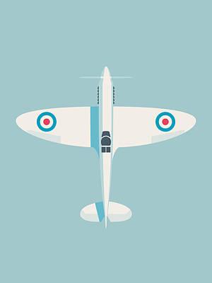 Rolls Royce Digital Art - Supermarine Spitfire Raf Fighter Plane - Sky by Ivan Krpan