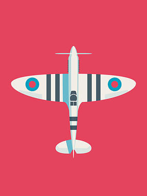 Aviation Wall Art - Digital Art - Supermarine Spitfire Wwii Raf Royal Air Force Fighter Aircraft - Stripe Crimson by Ivan Krpan