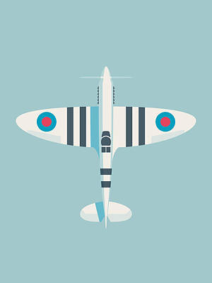 Aviation Wall Art - Digital Art - Supermarine Spitfire Wwii Raf Royal Air Force Fighter Aircraft - Stripe Sky by Ivan Krpan