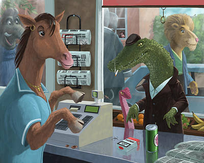 Crocodile Digital Art - Supermarket Horse Serving by Martin Davey