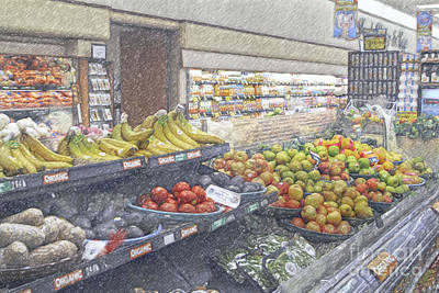 Print featuring the photograph Supermarket Produce Section by David Zanzinger