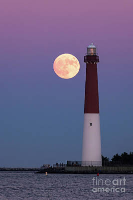 Supermoon And Old Barney Art Print by Anthony Tucci
