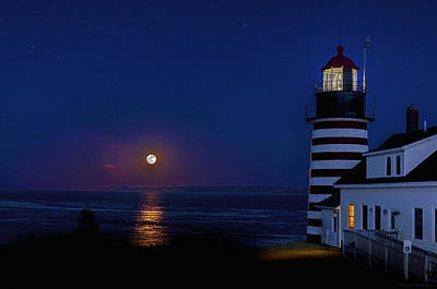 Photograph - Supermoon At West Quoddy Head Lighthouse by Marty Saccone