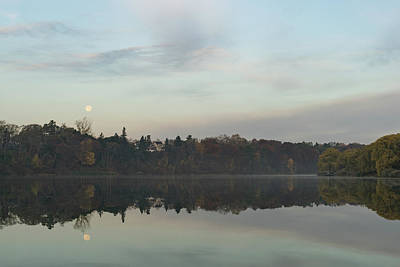 Photograph - Supermoon Moonset Panoramic Reflections by Georgia Mizuleva
