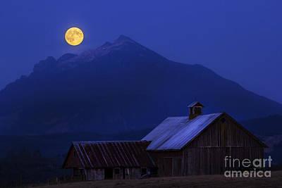 Photograph - Supermoon Over Barn by Sonya Lang