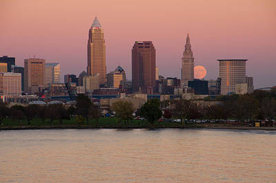 Photograph - Supermoon Over Cleveland by Ann Bridges