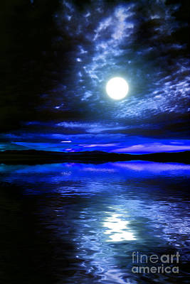 Supermoon Over Lake 2 Art Print